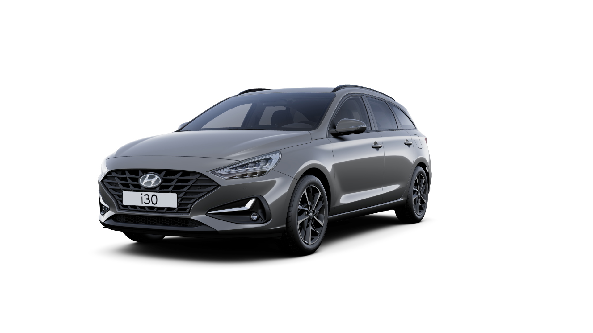 Front side view of the new Hyundai i30 Wagon in the colour Amazon Grey.