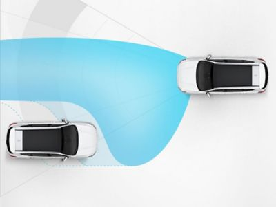 Illustration of the Hyundai i30 high beam assist.