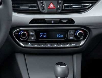 The air-condition controls in the new Hyundai i30 for a comfortable ride.