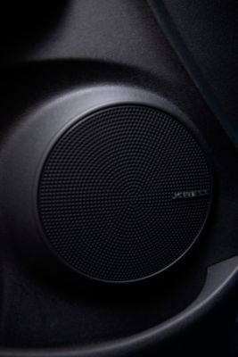 A speaker of the KRELL premium sound system in the new Hyundai Kona Hybrid compact SUV.