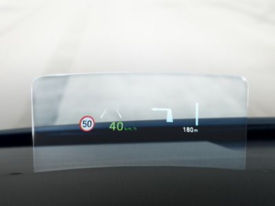 The Intelligent Speed Limit Warning recognizing road speed signs in the new Hyundai Kona Hybrid.