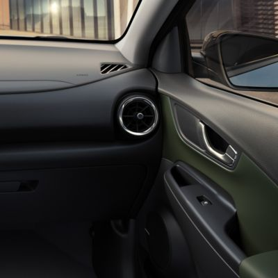 The khaki interior of the new Hyundai Kona Hybrid compact SUV.