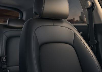 A seat inside the new Hyundai Kona Hybrid compact SUV.